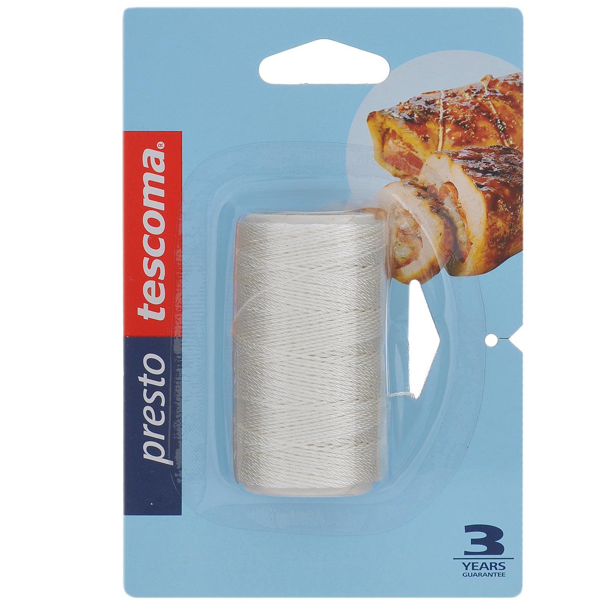 Веревка для выпечки Tescoma Presto, 40 м420588Веревка Tescoma Presto отлично подходит для связывания мясных рулетов, птицы, овощей, выпечки, жарки, варки и обрабатывания паром. Изготовлена из прочного волокна, выдерживает температуру до 250°C, подходит для всех типов печей, в том числе СВЧ.