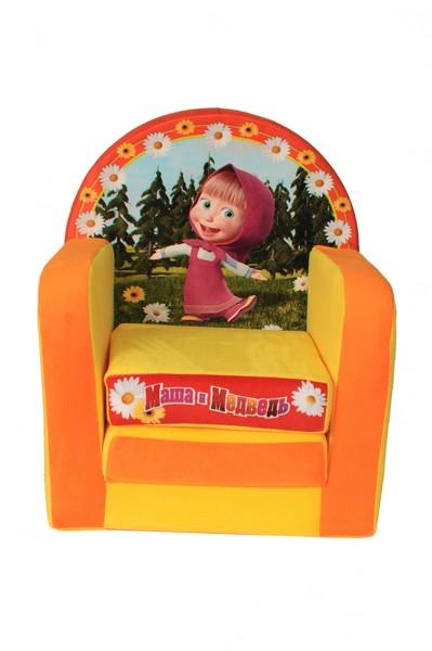 Кресло Маша и Медведь желтое раскладывающееся