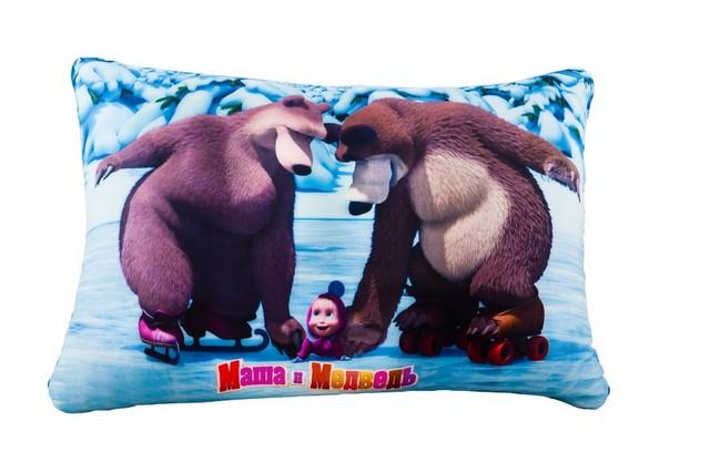 Подушка Антистресс Маша и Медведь голубая