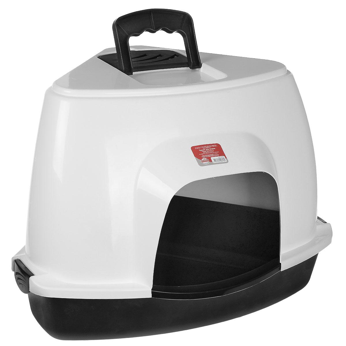 Туалет для кошек Fauna Kitty Luxer, цвет: черный, белый, 38 см х 38 см х 56 см0120710Закрытый угловой туалет для кошек Fauna Kitty Luxer выполнен из высококачественного пластика. Туалет довольно вместительный и напоминает домик. Он оснащен прозрачной открывающейся дверцей, сменным угольным фильтром и удобной ручкой для переноски. Такой туалет избавит ваш дом от неприятного запаха и разбросанных повсюду частичек наполнителя. Кошка в таком туалете будет чувствовать себя увереннее, ведь в этом укромном уголке ее никто не увидит. Кроме того, яркий дизайн с легкостью впишется в интерьер вашего дома. Туалет легко открывается для чистки благодаря практичным защелкам по бокам.