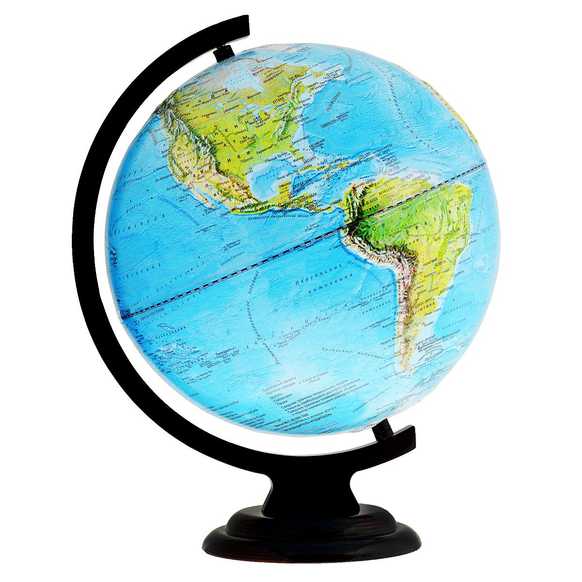 Глобусный мир Глобус настольный, рельефный, с физической картой мира, диаметр 32 см. 10246
