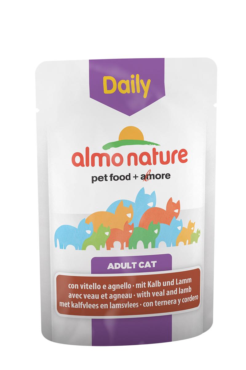 Консервы для кошек Almo Nature Daily Menu, с телятиной и ягненком, 70 г0120710Консервы Almo Nature Daily Menu - это супер-премиум корм для кошек. Корм изготовлен только из свежих высококачественных натуральных ингредиентов, что обеспечивает здоровье вашей кошки. Не содержит химических, или каких-либо других искусственных ингредиентов.Состав: мясо и его производные (телятина 4%, ягненок 4%), экстракт растительного белка, производные растительного происхождения, минералы. Добавки: витамин D3 - 303 IU/кг, витамин E - 29 мг/кг, витамин B1 - 2 мг/кг, E2 (Иодин) - 189 мг/кг, E4 (Медь) - 0,54 мг/кг, E5 (марганец) - 1 мг/кг, E6 (Цинк) - 14 мг/кг, таурин - 221 мг/кг; технологические добавки: камедь кассии - 599 мг/кг. Пищевая ценность: белки 9%, клетчатка 0,8%, масла и жиры 5%, зола 3%, влажность 82%. Калорийность: 818 ккал/кг.Товар сертифицирован.