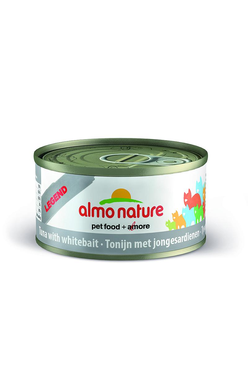 Консервы для Кошек с Тунцом Almo Nature (Legend Adult Cat Tuna&White Bait), мальки, 70 г22509Состав: тунец – 70%, рыбный бульон – 24%, сардины – 5%, рис – 1%. Гарантированный анализ: белки – 17%, клетчатка – 0,1%, жиры – 2%, зола – 2%, влажность – 75%. Калорийность: 765 ккал/кг.