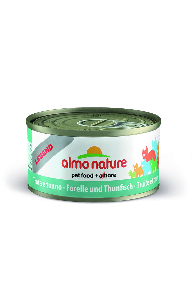 Консервы для кошек Almo Nature Legend, с форель и тунцом, 70 г23186Консервы Almo Nature Legend - это супер-премиум корм для кошек в банке с ключом, которая сохраняет свежесть каждого кусочка. Корм изготовлен только из свежих высококачественных натуральных ингредиентов, что обеспечивает здоровье вашей кошки. Не содержит ГМО, антибиотиков, химических добавок, консервантов и красителей. Состав: форель 37,5%, тунец 37,5%, рыбный бульон 24%, рис 1%. Гарантированный анализ: белки - 16%, клетчатка - 1%, жиры - 3%, зола - 3%, влажность - 76%. Товар сертифицирован.