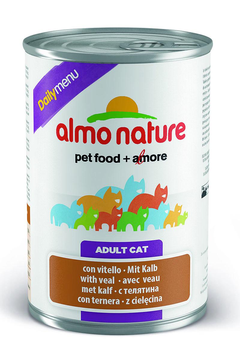 Консервы для кошек Almo Nature Daily Menu, с телятиной, 400 г0120710Консервы Almo Nature Daily Menu - это супер-премиум корм для кошек в банке с ключом, которая сохраняет свежесть каждого кусочка. Корм изготовлен только из свежих высококачественных натуральных ингредиентов, что обеспечивает здоровье вашей кошки. Не содержит химических, или каких-либо других искусственных ингредиентов.Состав: мясо и его производные, яйца, минералы, сахар.Пищевые добавки: витамин А - 1415 МЕ/кг, витамин D3 - 3150 МЕ/кг, витамин Е - 3,2 мг/кг, сульфат меди пентагидрат - 3,2 мг/кг (CU 0.8 мг/кг), камедь кассии - 3000 мг/кг.Гарантированные анализ: белки – 7,5%, клетчатка – 0,1%, жиры – 5,5%, зола – 3%, влага – 81,5%.Калорийность: 814 ккал/кг.Товар сертифицирован.