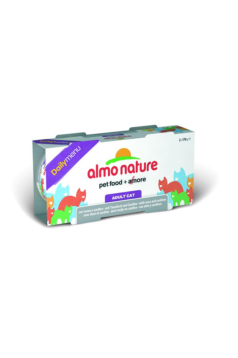 Консервы для кошек Almo Nature Daily menu, с тунцом и сардинами, 170 г х 2 шт0120710Almo Nature Daily menu - консервы для кошек, изготовленные из отборных, гипоаллергенных и легко усвояемых ингредиентов.Содержит питательные, высококачественные продукты: подлинное мясо – без гормонов и антибиотиков и овощи и злаки, произрастающие в экологически чистых условиях без использования пестицидов и химических веществ.Состав: тунец 51%, сардинки 10%, рис 5%.Пищевые добавки: витамин А - 107,33 МЕ/кг, витамин Е - 9,8 мг/кг.Технологические добавки: экстракт кассия - 2450 мг/кг.Гарантированный анализ: белки -14%, клетчатка – 0,1%, жиры – 2%, зола – 2%, влага – 78%.Товар сертифицирован.