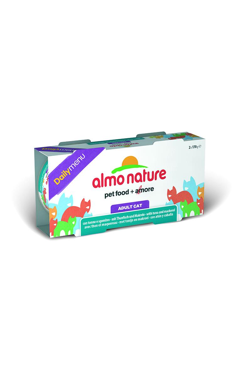 Консервы для кошек Almo Nature Daily menu, с тунцом и макрелью, 170 г х 2 шт0120710Консервы Almo Nature Daily Menu - это супер-премиум корм для кошек. Корм изготовлен только из свежих высококачественных натуральных ингредиентов, что обеспечивает здоровье вашей кошки. Не содержит химических, или каких-либо других искусственных ингредиентов.Состав: тунец - 51% мин., скумбрия - 10% мин., рыбный бульон, рис - 5%. Добавка: гуаровый желирующий агент - 0,2%. Пищевая ценность: белки - 14%, клетчатка - 0,1%, масла и жиры - 2%, зола - 1,2%, влажность - 77%.Товар сертифицирован.