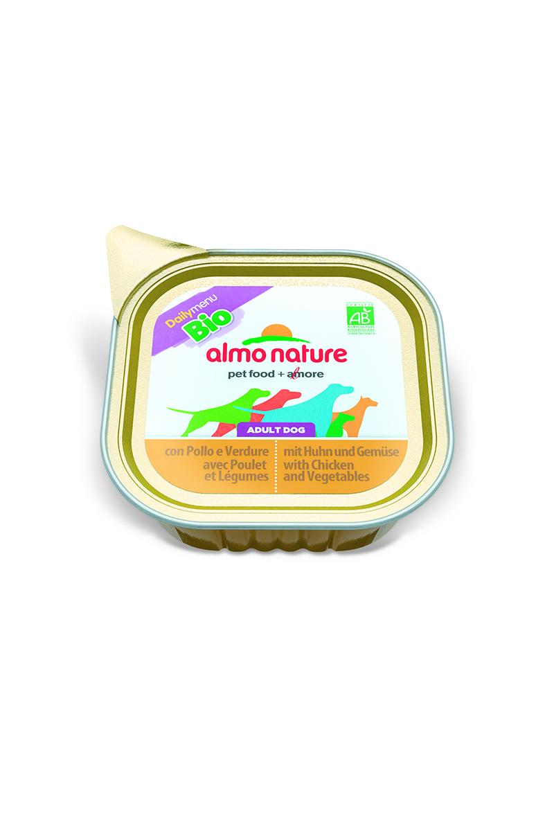 Паштет для собак Almo Nature Daily Menu. Bio, с курицей и овощами, 100 г0120710Паштет для собак Almo Nature Daily Menu. Bio изготовлены из отборных, гипоаллергенных и легко усвояемых ингредиентов. Содержат питательные, высококачественные продукты: подлинное мясо свободного выгула - без гормонов и антибиотиков, а также овощи, произрастающие в экологически чистых условиях без использования пестицидов и химических веществ.Состав: мясо и его производные, овощи – 5%, минеральные вещества, витамин Е – 16 мг/кг.Гарантированный анализ: белки – 9%, клетчатка – 0,3%, жиры – 6%, зола – 2%, влажность – 81%.Товар сертифицирован.