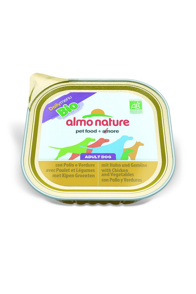 Паштет для собак Almo Nature Daily Menu. Bio, с курицей и овощами, 300 г0120710Паштет для собак Almo Nature Daily Menu. Bio изготовлены из отборных, гипоаллергенных и легко усвояемых ингредиентов. Содержат питательные, высококачественные продукты: подлинное мясо свободного выгула - без гормонов и антибиотиков, а также овощи, произрастающие в экологически чистых условиях без использования пестицидов и химических веществ.Состав: мясо и его производные, овощи – 5%, минеральные вещества, витамин Е – 16 мг/кг.Гарантированный анализ: белки – 9%, клетчатка – 0,3%, жиры – 6%, зола – 2%, влажность – 81%.Товар сертифицирован.