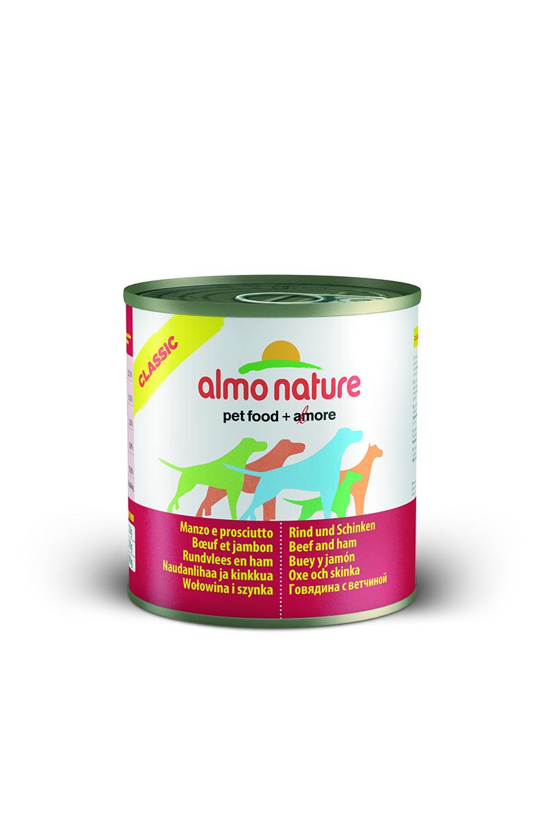Консервы для собак Almo Nature Classic, с говядиной и ветчиной, 290 г10188Консервы Almo Nature Classic - сбалансированный влажный корм для собак, изготовленный из ингредиентов высшего качества, являющихся натуральными источниками витаминов и питательных веществ. Состав: вырезка говядины – 45% мин., ветчина – 5% мин., рис – 3% мин., гуаровая камедь – 0,2%, говяжий бульон. Гарантированный анализ: белки – 12%, клетчатка – 0,2%, жиры – 9%, зола – 0,5%, влажность – 76%. Калорийность - 1500 ккал/кг. Товар сертифицирован.