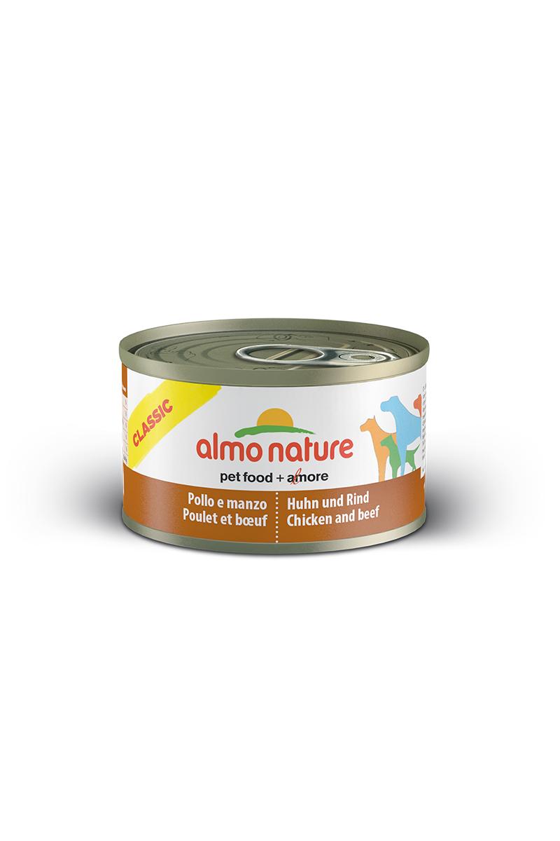 Консервы для собак Almo Nature Classic, с курицей и говядиной, 95 г10358Консервы Almo Nature Classic - сбалансированный влажный корм для собак, изготовленный из ингредиентов высшего качества, являющихся натуральными источниками витаминов и питательных веществ. Состав: бульон - 42%, курица - 27,5%, говядина - 27,5%, рис - 3%. Пищевая ценность: белки - 15,1%, клетчатка - 0,1%, жиры - 5.1%, зола - 0,7%, влажность - 75%. Калорийность: 1021ккал/кг. Товар сертифицирован.
