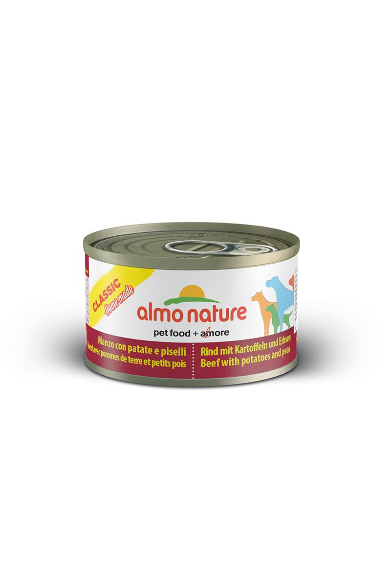 Консервы для собак Almo Nature Classic, говядина с картофелем и горошком по-домашнему, 95 г0120710Консервы Almo Nature Classic - сбалансированный влажный корм для собак, изготовленный из ингредиентов высшего качества, являющихся натуральными источниками витаминов и питательных веществ. Состав: говядина 35%, бульон 33%, горох 15%, картофель 14%, крахмал 2%, рис 1%.Пищевая ценность: белки 9,7%, клетчатка 0,1%, масла и жиры 3,7%, зола 0,8%, влажность 78,1%. Калорийность: 924 ккал/кг.Товар сертифицирован.
