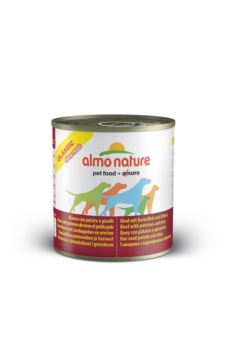Консервы для собак Almo Nature Classic, говядина с картофелем и горошком по-домашнему, 280 г0120710Консервы Almo Nature Classic - сбалансированный влажный корм для собак, изготовленный из ингредиентов высшего качества, являющихся натуральными источниками витаминов и питательных веществ. Состав: говядина 35%, бульон 33%, горох 15%, картофель 14%, крахмал 2%, рис 1%.Пищевая ценность: белки 9,7%, клетчатка 0,1%, масла и жиры 3,7%, зола 0,8%, влажность 78,1%. Калорийность: 924 ккал/кг.Товар сертифицирован.