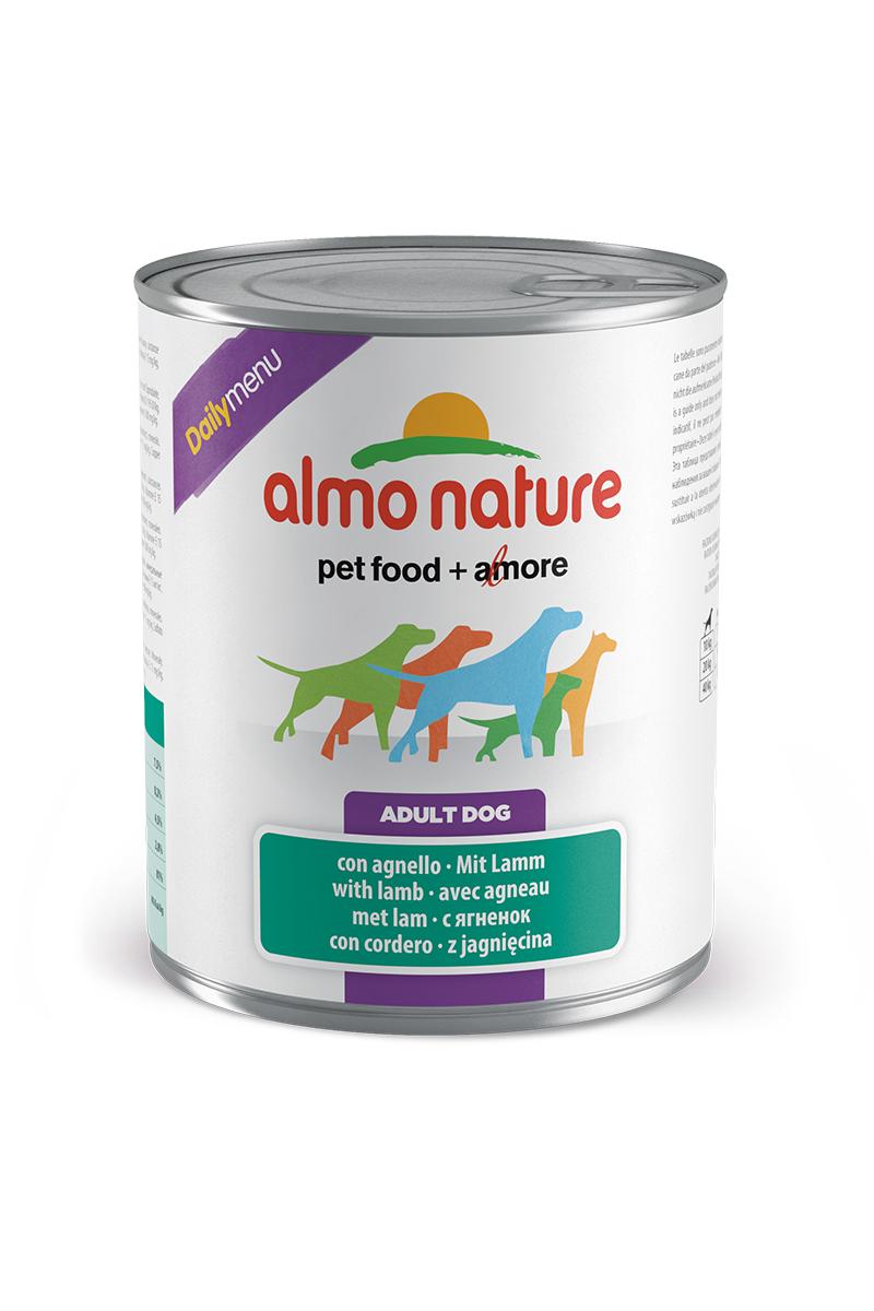 Консервы для собак Меню с Ягненком (Daily Menu with Lamb), 800 г.0120710Состав: мясо и его производные (из кот. ягненок 4%), злаки, яйца и яичные продукты, минералы. Пищевые добавки: витамин A 1570 IU/кг, витамин D3 195 IU/кг, витамин E 15 мг/кг, сульфат меди пентагидрат 7,6 мг/кг; технологические добавки: камедь кассии 3300 мг/кг. Пищевая ценность: белки 7,5%, клетчатка 0,2%, жиры 4,5%, зола 2.8%, влажность 81%. Калорийность: 802 ккал/кг.