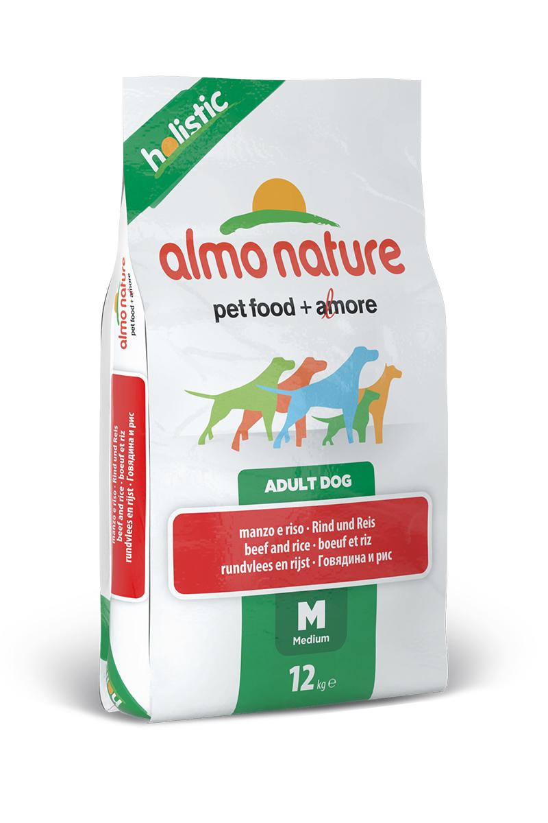 Корм сухой Almo Nature Holistic для взрослых собак средних пород, с говядиной и коричневым рисом, 12 кг19345Полнорационный корм Almo Nature Holistic рекомендован для взрослых собак средних пород. Корм содержит большой процент свежего мяса, что обеспечивает необходимым количеством питательных веществ и оптимальным содержанием протеина. Прекрасный вкус обеспечивается за счет свежих натуральных ингредиентов. Не содержит искусственных добавок, красителей, ароматизаторов, консервантов. Состав: мясо и его производные (свежей говядины 26%), злаки (рис 14%), экстракт растительных белков, производные растительного происхождения (инулин из цикория- источник ФОС-0.1%), масла и жиры, дрожжи, минералы, маннаноолигосахариды. Добавки: витамин A 22000 IU/кг, витамин D3 1400 IU/кг, витамин E 300 мг/кг, витамин B1 12 мг/кг, витамин B2 14 мг/кг, кальций D-пантотенат 20 мг/кг, витамин B6 12 мг/кг, витамин B12 0,15 мг/кг, биотин 0,50 мг/кг, ниацин 25 мг/кг, фолиевая кислота 1 мг/кг, L-карнитин 100 мг/кг, сульфат пентагидрат меди 32 мг/кг, хелат меди аминокислоты гидрат 33...