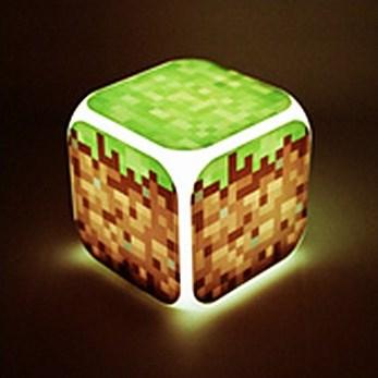 Часы настольные пиксельные с подсветкой Блок земли Minecraft