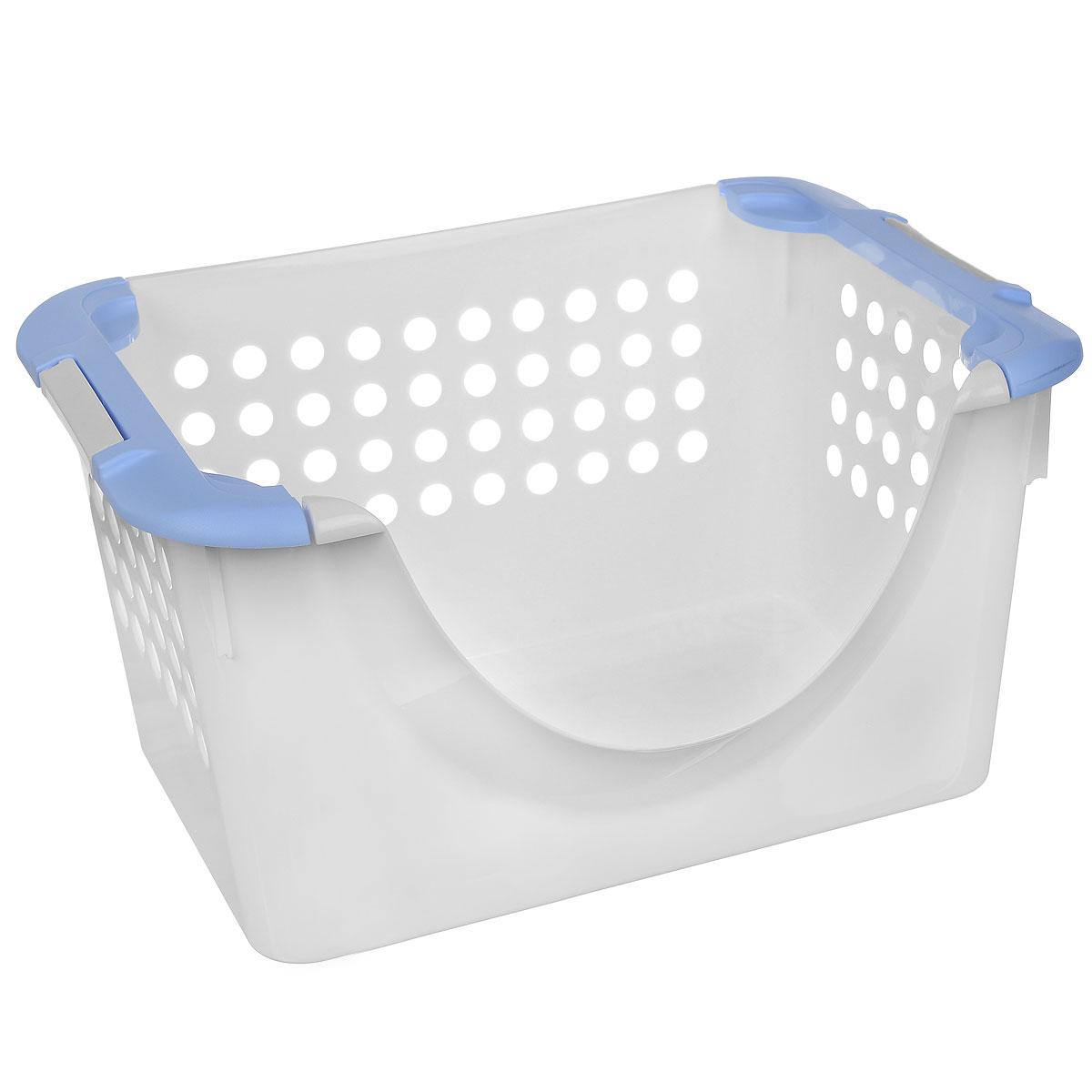 Корзинка универсальная Econova, с ручками, цвет: белый, голубой, 31 х 23 х 42,5 см780869_белый, голубойУниверсальная корзина Econova, выполненная из прочного пластика, предназначена для хранения вещей в ванной, на кухне, даче или гараже. Позволяет хранить вещи, исключая возможность их потери. Корзина оснащена двумя удобными ручками для переноски. Боковые стенки перфорированы.