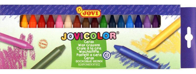 Jovu Карандаши восковые 18 цветов72523WDВосковые карандаши Jovi - отличный вариант для развития наглядно-образного мышления, воображения, мелкой моторики рук, творческих и художественных способностей, а также усидчивости и аккуратности. Карандаши изготовлены на основе полимерных восков, натуральных наполнителей и высококачественных пигментов. Они не пачкают руки малыша, они мягкие, прочные и не имеют запаха. Восковые карандаши отличаются яркими и насыщенными цветами, позволяют проводить мягкие и ровные штрихи. Порадуйте своего ребенка таким замечательным подарком!