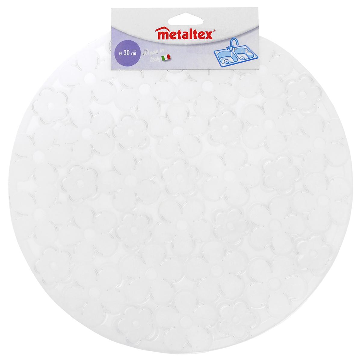 Коврик для раковины Metaltex, цвет: прозрачный, диаметр 30 см28.75.37 прозрачныйСтильный и удобный коврик для раковины Metaltex выполнен из ПВХ. Он одновременно выполняет несколько функций: украшает, предотвращает появление на раковине царапин и сколов, защищает посуду от повреждений при падении в раковину, удерживает мусор, попадание которого в слив приводит к засорам. Изделие также обладает противоскользящим эффектом и может использоваться в качестве подставки для сушки чистой посуды. Легко очищается от грязи и жира. Диаметр: 30 см.