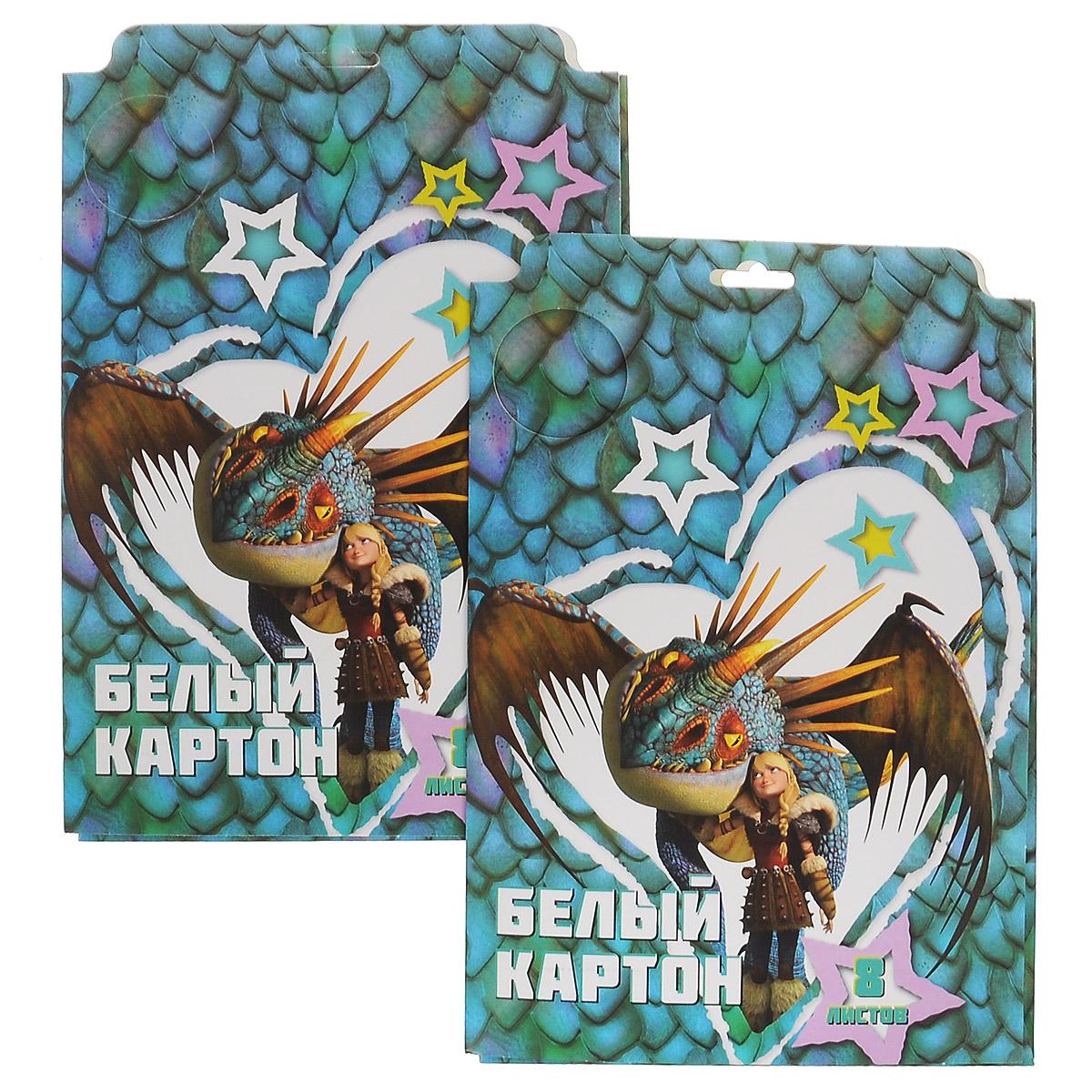 Action! Картон белый Dragons, мелованный, 8 листов, 2 шт72523WDКартон мелованный белый Action! Dragons позволит вашему ребенку создавать всевозможные аппликации и поделки. Набор состоит из 8 листов картона белого цвета формата А4. Листы упакованы в оригинальную картонную папку, оформленную изображением героев Dragons. Создание поделок из картона поможет ребенку в развитии творческих способностей, кроме того, это увлекательный досуг.В комплекте 2 набора по 8 листов.Рекомендуемый возраст от 6 лет.