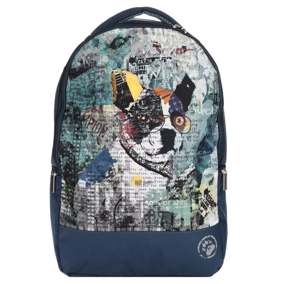 Рюкзак подростковый Proff Modern Trend, цвет: синий, голубой. MS15-BPA-1272523WDРюкзак подростковый Proff Modern Trend станет надежным спутником в получении знаний. Он выполнен из полиэстера, имеет оригинальное оформление в виде стилизованного изображения собаки в очках. Рельеф спинки рюкзака удобен для позвоночника. Рюкзак имеет одно большое отделение, которое закрывается на молнию. Внутри большого отделения расположен накладной карман-сетка на молнии, карман для планшета с мягкой стенкой, два открытых накладных кармана, один накладной карман на молнии, и два небольших кармана для мелочи. Помимо основного отделения, рюкзак имеет два боковых кармана на молнии. Рюкзак оснащен широкими плечевыми ремнями с поролоновым наполнителем, которые регулируются по длине, и мягкой ручкой для переноски в руке.