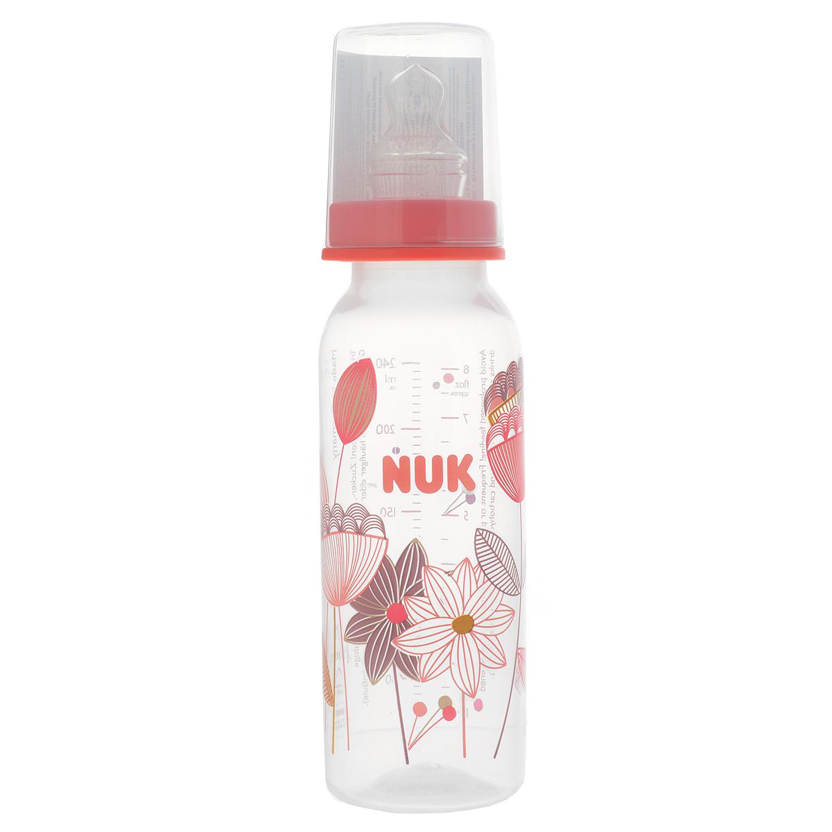 """Бутылочка для кормления """"NUK"""", с силиконовой соской, от 0 до 6 месяцев, цвет: розовый, 240 мл 10741419_розовый"""