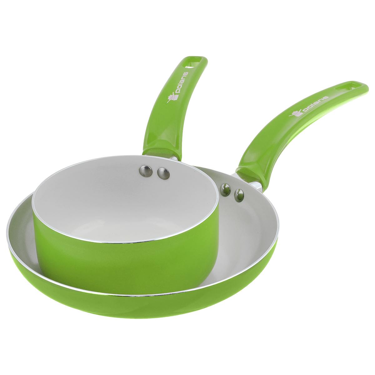 Набор посуды Polaris Rainbow, с керамическим покрытием, цвет: салатовый, 2 предмета94672Набор посуды Polaris Rainbow состоит из сковороды и ковша. Изделия выполнены из алюминия с керамическим антипригарным покрытием. Покрытие экологично, не содержит примеси PFOA и PTFE. Эргономичная ручка из бакелита не нагревается в процессе эксплуатации. Изделия подходят для всех типов плит, кроме индукционных. Можно мыть в посудомоечной машине. Диаметр сковороды (по верхнему краю): 24 см. Диаметр ковша (по верхнему краю): 16 см. Высота стенки сковороды: 4,5 см. Высота стенки ковша: 7,5 см. Длина ручки сковороды: 19 см. Длина ручки ковша: 16 см. Толщина стенки: 2,5 мм. Толщина дна: 3 мм.