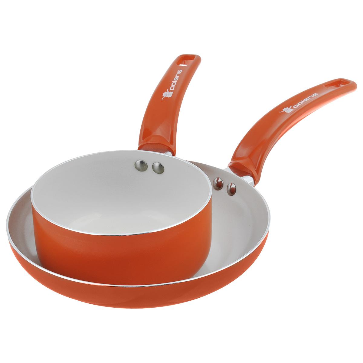 Набор посуды Polaris Rainbow, с керамическим покрытием, цвет: оранжевый, 2 предметаRain-1624SPFНабор посуды Polaris Rainbow состоит из сковороды и ковша. Изделия выполнены из алюминия с керамическим антипригарным покрытием. Покрытие экологично, не содержит примеси PFOA и PTFE. Эргономичная ручка из бакелита не нагревается в процессе эксплуатации. Изделия подходят для всех типов плит, кроме индукционных. Можно мыть в посудомоечной машине. Диаметр сковороды (по верхнему краю): 24 см. Диаметр ковша (по верхнему краю): 16 см. Высота стенки сковороды: 4,5 см. Высота стенки ковша: 7,5 см. Длина ручки сковороды: 19 см. Длина ручки ковша: 16 см. Толщина стенки: 2,5 мм. Толщина дна: 3 мм.