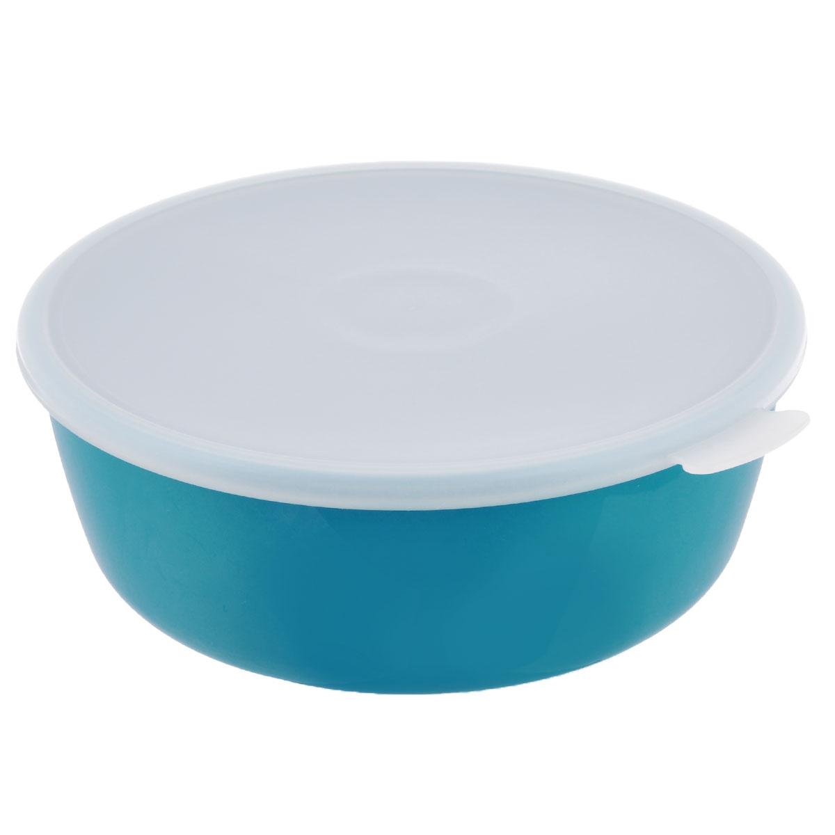 Миска Idea Прованс, с крышкой, цвет: бирюзовый, 2,5 лМ 1382Миска круглой формы Idea Прованс изготовлена из высококачественного пищевого пластика. Изделие очень функциональное, оно пригодится на кухне для самых разнообразных нужд: в качестве салатника, миски, тарелки. Герметичная крышка обеспечивает продуктам долгий срок хранения. Диаметр миски: 22,5 см. Высота миски: 8,5 см.