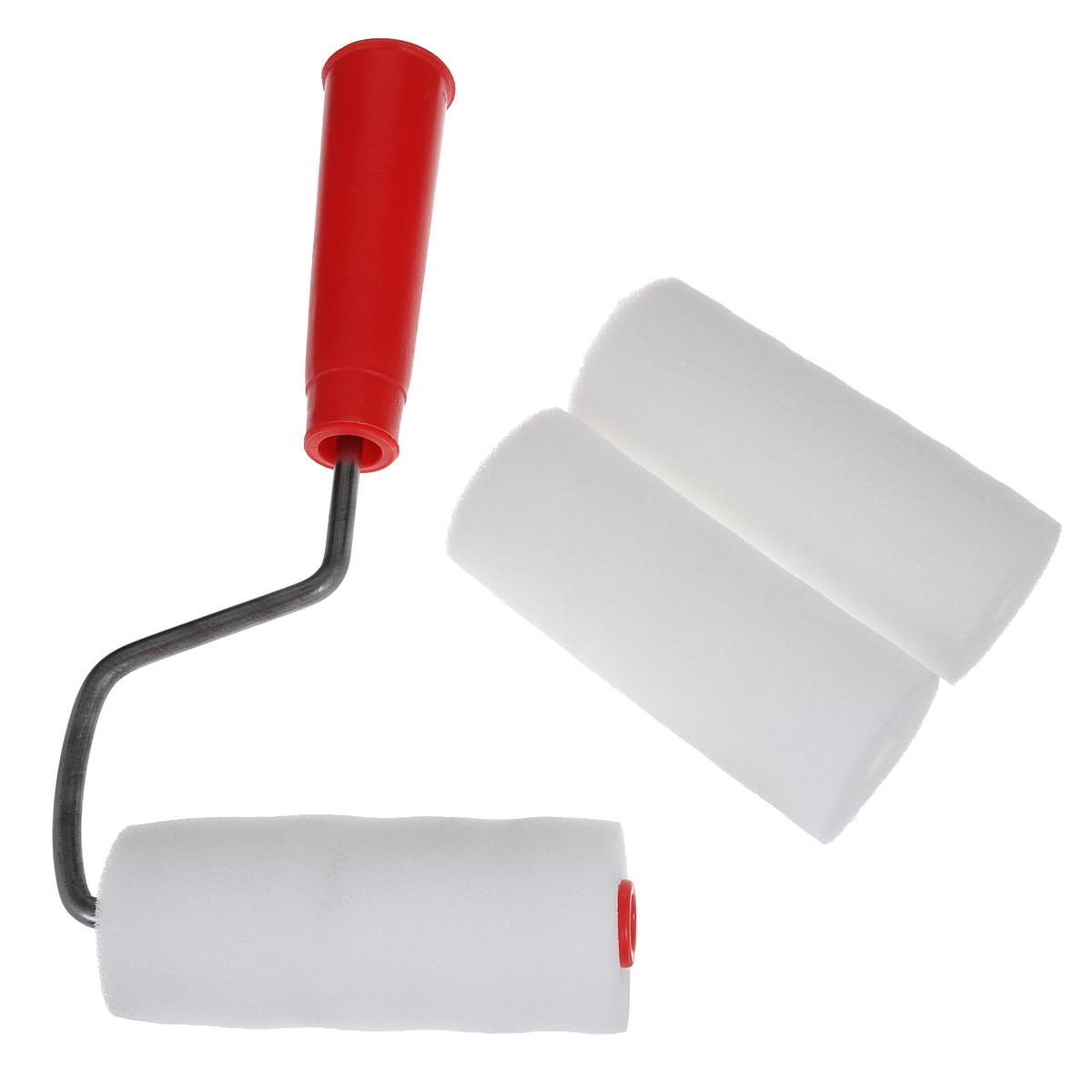 Валик малярный Радуга, с ручкой, цвет: белый, красный, 100 мм х 42 мм + 2 ролика80445Малярный валик Радуга применяется для работы на гладких поверхностях. Используется с лакокрасочными материалами на водной и алкидной основах и масляными красками. В комплекте 2 запасных ролика. Длина ролика: 10 см. Диаметр ролика: 4,2 см.
