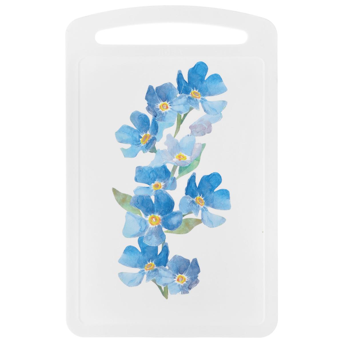 Доска разделочная Idea Голубые цветы, 27,5 см х 17 смCM000001328Разделочная доска Idea Голубые цветы изготовлена из высококачественного пищевого пластика с красивым цветочным рисунком. Изделие снабжено ручкой и желобками по краю для стока жидкости.