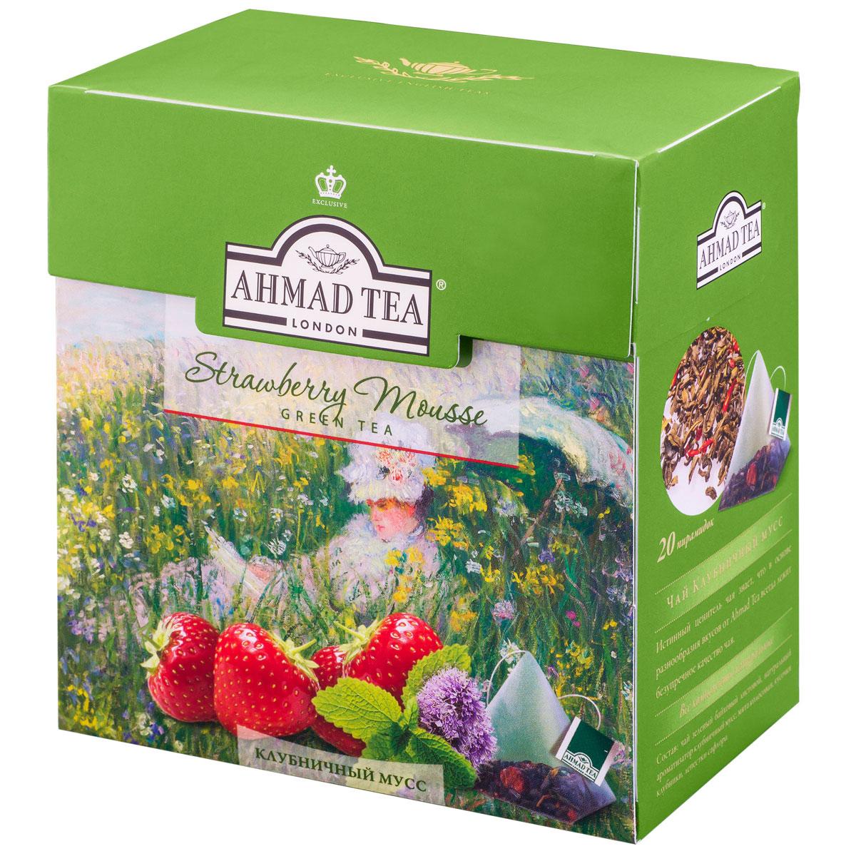 Ahmad Tea Strawberry Mousse зеленый чай в пирамидках, 20 шт0120710Вкус композиции Ahmad Tea Strawberry Mousse открывает новые грани совершенства чая: благородный китайский зеленый чай раскрывается в букет с душистым клубничным ароматом и нотой мятной свежести.Заваривать 4-6 минут, температура воды 90°С.