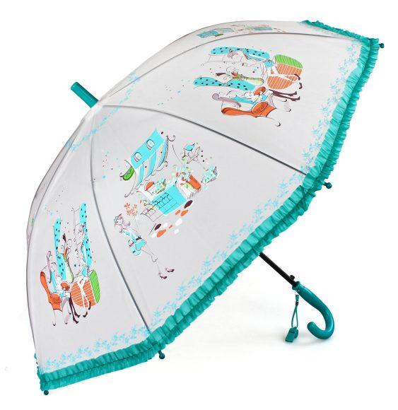 Зонт детский Модница, 55 см, бирюзовый, свисток63870Детский зонтик-тросточка с ярким принтом защитит ребенка от непогоды. Зонтик не боится дождя и ветра благодаря прочному креплению купола к каркасу. Изогнутая ручка позволяет крепко держать его в руках. К ручке прикреплен свисток. Технические характеристики: Полуавтоматическая система складывания; Концы спиц закрыты пластиковыми шариками; Пластиковый фиксатор на стержне зонтика; Радиус купола – 50 см .