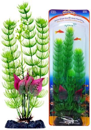 Растение-композиция FLOWERING CABOMBA-MALAY CRIP 20см. КАБОМБА-КРИПТОКОРИНАP4GVMHКомпозиция их двух растений на массивном основани, удерживающем композицию на дне аквариума. Растения, объединенные на одном основании являются оригинальным элементом оформления аквариума.