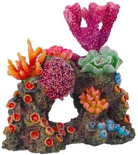 Декорация КОРАЛЛЫ НА РИФЕ 16х11х16см0120710Красочные разнообразные кораллы на массивном основании-рифе. Комбинации из различных кораллов на рифах создают в аквариуме пеструю и экзотическую картину морского дна.