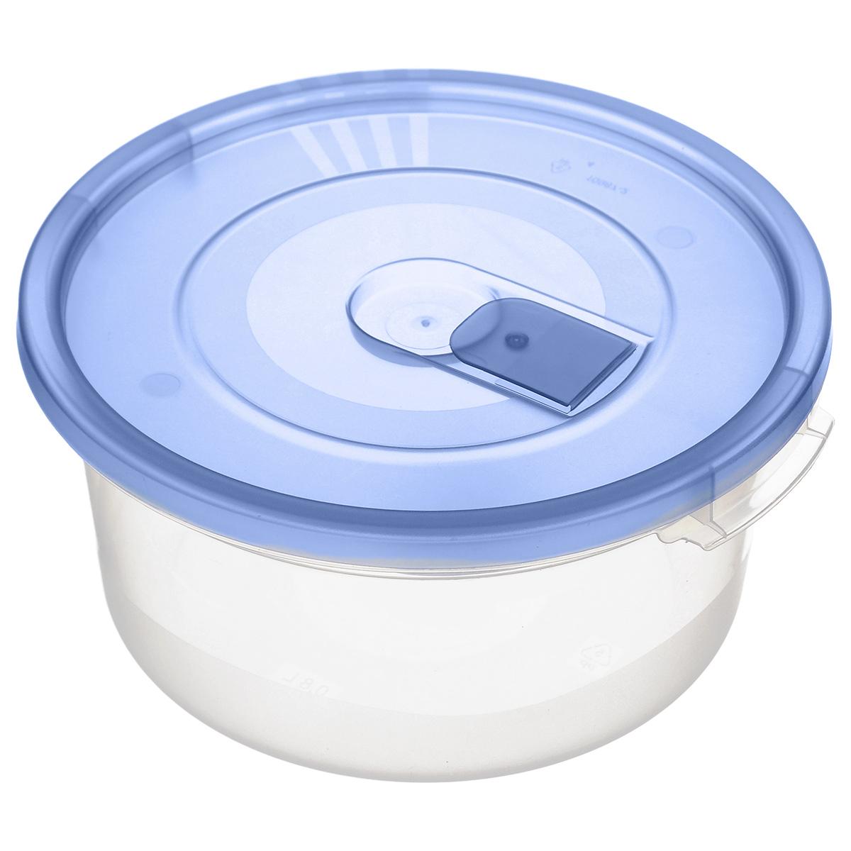 Контейнер Полимербыт Смайл, цвет: голубой, прозрачный, 800 млС521_голубойКонтейнер Полимербыт Смайл круглой формы, изготовленный из прочного пластика, специально предназначен для хранения пищевых продуктов. Контейнер оснащен герметичной крышкой со специальным клапаном, благодаря которому внутри создается вакуум и продукты дольше сохраняют свежесть и аромат. Крышка легко открывается и плотно закрывается. Стенки контейнера прозрачные - хорошо видно, что внутри. Контейнер устойчив к воздействию масел и жиров, легко моется. Контейнер имеет возможность хранения продуктов глубокой заморозки, обладает высокой прочностью. Можно мыть в посудомоечной машине. Подходит для использования в микроволновых печах. Диаметр: 15 см. Высота (без крышки): 7 см.