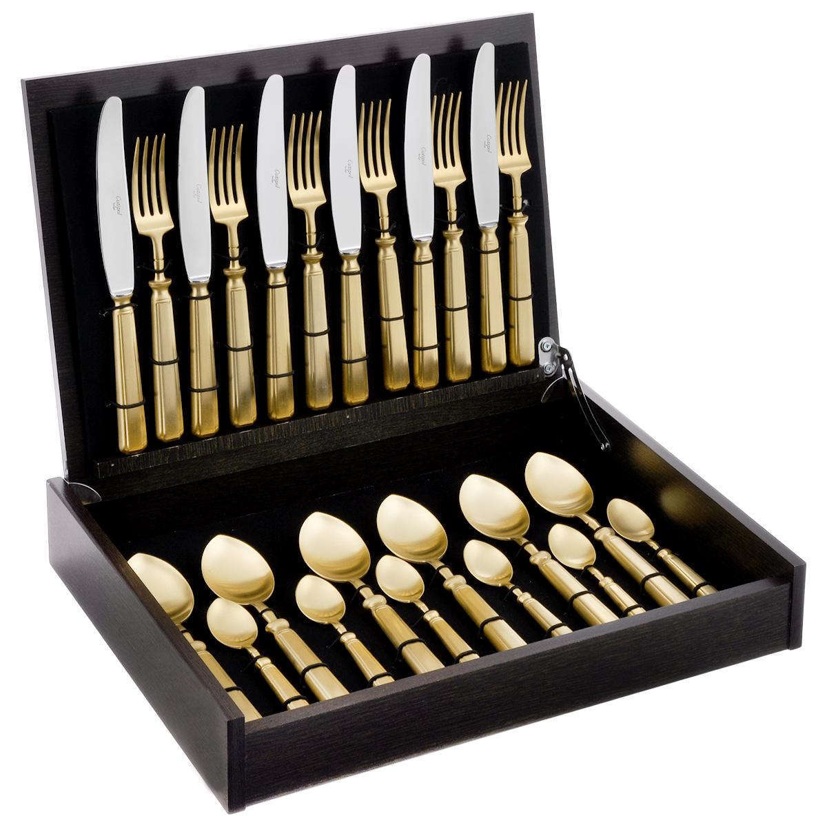 """Набор столовых приборов Cutipol """"Piccadilly"""", цвет: золотой, 24 предмета 9142"""