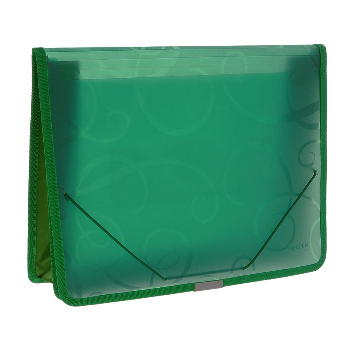 Папка на резинке Centrum, цвет: зеленый, формат А4. 80802611308Папка на резинке Centrum станет вашим верным помощником дома и в офисе. Это удобный и функциональный инструмент, предназначенный для хранения и транспортировки больших объемов рабочих бумаг и документов формата А4.Папка изготовлена из износостойкого высококачественного пластика. Состоит из одного вместительного отделения и дополнена 2 накладными кармашками. Грани папки отделаны полиэстером и металлическим лейблом для дополнительной прочности и сохранности опрятного вида папки.Папка - это незаменимый атрибут для любого студента, школьника или офисного работника. Такая папка надежно сохранит ваши бумаги и сбережет их от повреждений, пыли и влаги.