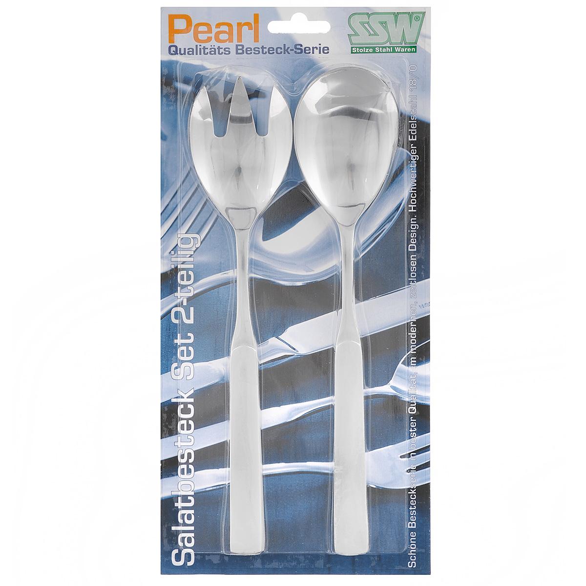 Набор ложек для салата SSW Pearl, 2 предмета477345Набор ложек для салата SSW Pearl выполнен из нержавеющей стали. Таким набором удобно перемешивать и выкладывать на тарелки зеленые салаты, в которых много нежных листьев и трав. Если перемешивать их простой ложкой - легко помять зелень. Пользуясь же этим набором для смешивания, или как щипцами, чтобы положить салат на тарелку, вы никогда не изомнете салатные листья. Изделия можно мыть в посудомоечной машине. Длина предметов: 23,5 см. Длина рабочей части: 7 см.