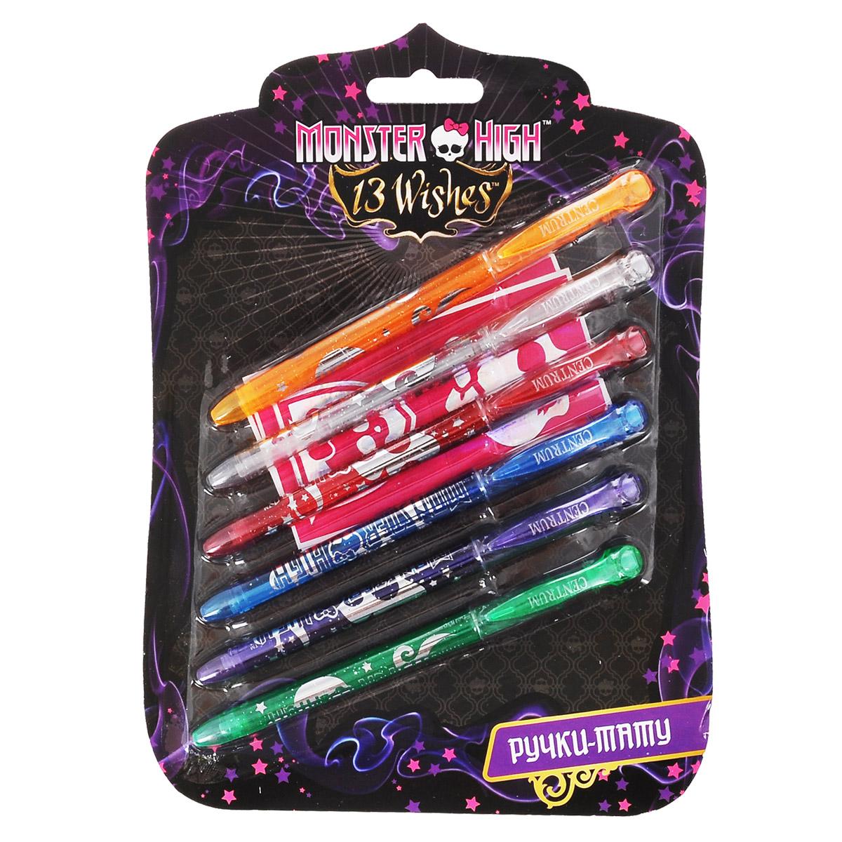 Набор гелевых ручек Centrum Monster High, для нанесения татуировок, 6 шт84988_цвет 2Набор гелевых ручек Centrum Monster High включает 6 ручек ярких цветов - оранжевого, красного, голубого, фиолетового, белого и зеленого. Корпусы ручек украшены блестками и логотипом мультфильма Школа монстров. Ручки имеют современный дизайн и обеспечивают мягкое и четкое письмо практически на любой бумаге, и даже на коже - ваш малыш сможет придумать и нарисовать забавные смывающиеся татуировки для себя и своих друзей. Полупрозрачный корпус ручки позволяет контролировать расход чернил. Ручки закрываются колпачком, оснащенным клип-зажимом. Цвет корпуса соответствует цвету чернил.