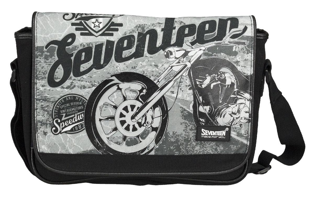 Сумка молодежная Seventeen, цвет: черный, серый. SVCB-RT6-9532SVCB-RT2-896Сумка молодежная Seventeen изготовлена из прочного, износостойкого материала черного и серого цветов и оформлена изображением мотоцикла.Сумка имеет одно большое отделение, которое закрывается клапаном на две магнитные кнопки. Внутри отделения имеется прорезной карман на застежке-молнии. Лямка регулируется по длине.Такую сумку можно использовать для повседневных прогулок, отдыха и спорта, а также как элемент вашего имиджа.