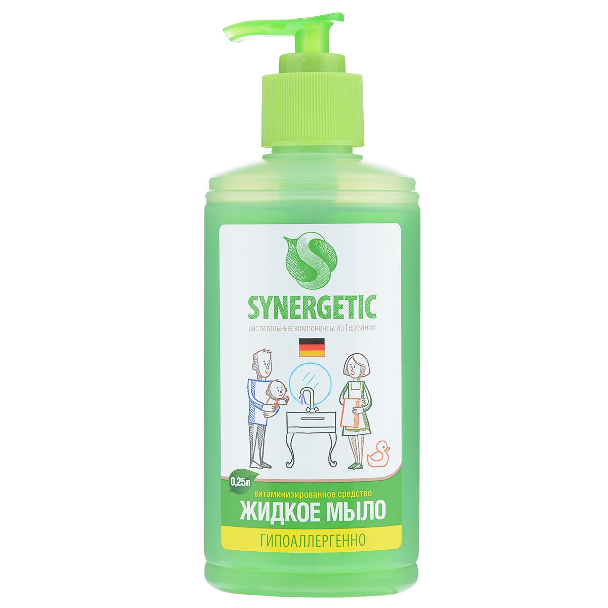 Жидкое мыло Synergetic, 250 мл105025Концентрированное жидкое мыло Synergetic подходит для бережного очищения кожи от любых загрязнений, обладает приятным натуральным ароматом. Особая формула интенсивно питает и защищает вашу кожу, Благодаря только растительным компонентам, входящих в состав, мыло безопасно для детей и животных. Состав: 5-15% А-тензиды (растительного происхождения), глицерин, экстракт полевых трав, пищевой краситель. Товар сертифицирован.