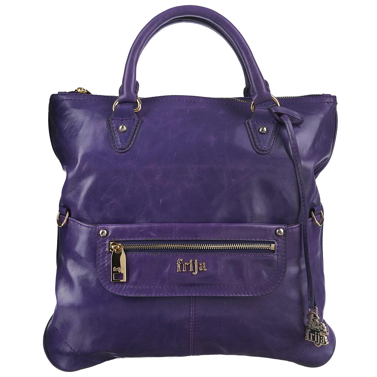 Сумка женская Frija, цвет: фиолетовый. 21-0120-133-47670-00504Стильная женская сумка Frija выполнена из натуральной кожи в классическом стиле. Внутри сумки одно основное отделение и один внутренний карман на молнии. Снаружи сумка закрывается на молнию. На передней стенке два кармана, один из них закрывается на магнитную кнопку, другой на молнию. На задней стенке хлястик с кнопкой для фиксации ручек, поэтому сумку можно носить как клатч. Высота ручек 9 см. Длина съемного плечевого ремня 130 см.В комплекте чехол для хранения.Роскошная сумка внесёт элегантные нотки в ваш образ и подчеркнёт ваше отменное чувство стиля.