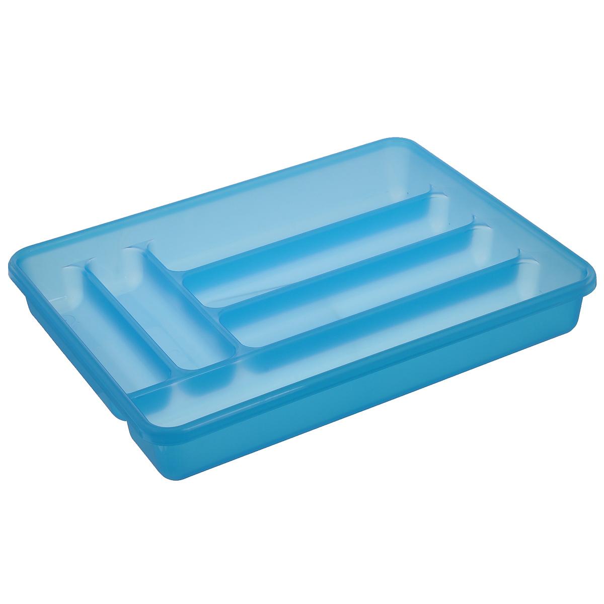 Лоток для столовых приборов Cosmoplast, 6 отделений, цвет: голубой2142_голубойЛоток для столовых приборов Cosmoplast изготовлен из высококачественного пищевого пластика. Он предназначен для выдвигающихся ящиков на кухне. Лоток имеет шесть отделений: три отделения для вилок, ложек, ножей, два малых отделения для чайных ложек и десертных вилок, одно большое отделение для остальных приборов. Размер большого отделения: 38,5 см х 8 см. Размер средних отделений: 27 см х 6,5 см. Размер маленьких отделений: 20 см х 5 см.