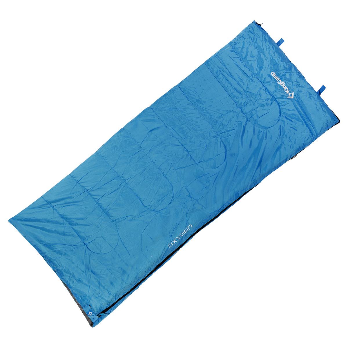 Спальный мешок-одеяло KingCamp Oxygen, цвет: синий, 180 см х 75 смУТ-000050442Спальный мешок-одеяло KingCamp Oxygen предусмотрен для теплого времени года, так как рассчитан на температуру от +8°C до +18°С. Спальный мешок имеет двустороннюю застежку-молнию, оснащен удобным нейлоновым компрессионным мешком для переноски. В сложенном виде спальный мешок занимает очень мало места и весит совсем немного. Отлично подходит для летних походов, кемпинга, треккинга и велотуризма. Вес: 920 г.