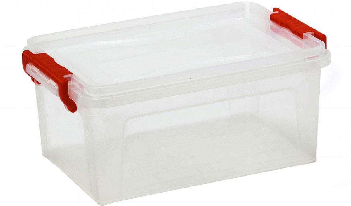 Контейнер для хранения Idea, прямоугольный, цвет: прозрачный, красный, 8,5 л10503Контейнер для хранения Idea выполнен из высококачественного пластика. Изделие оснащено двумя пластиковыми фиксаторами по бокам, придающими дополнительную надежность закрывания крышки. Вместительный контейнер позволит сохранить различные нужные вещи в порядке, а герметичная крышка предотвратит случайное открывание, защитит содержимое от пыли и грязи.Объем: 8,5 л.