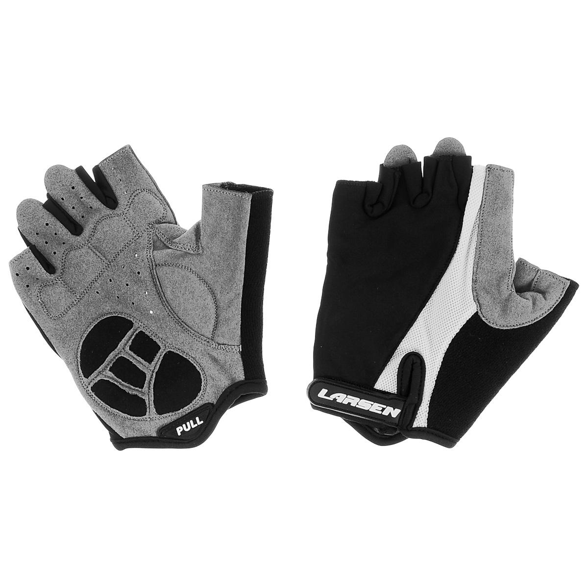 Велоперчатки Larsen, цвет: черный, серый, белый. Размер XL. 01-12266056Велоперчатки Larsen выполнены из высококачественного нейлона и амары. На ладонях расположены мягкие вставки для повышенного сцепления и системой Pull Off на пальцах. Застежка Velcro надежно фиксирует перчатки на руке. Сетка способствует хорошей вентиляции.
