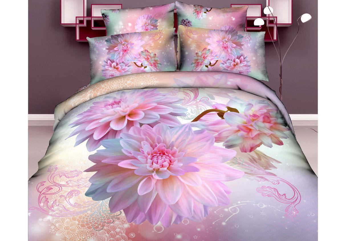 """Комплект белья 3D """"Mango"""", семейный, наволочки 70х70, цвет: бирюзовый, сиреневый, розовый. M-607-143-220-70"""