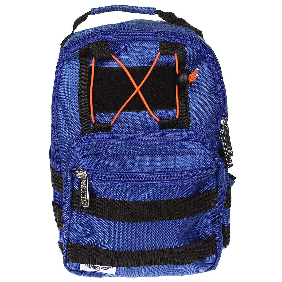 Рюкзак-мини Babiators Rocket Pack, цвет: синийBAB-071Рюкзак-мини Babiators Rocket Pack обязательно пригодится вашему ребенку! Он может взять его с собой на прогулку, в гости или в детский сад. Выполнен рюкзак из износоустойчивой ткани с водонепроницаемой основой, что позволяет ему надежно защищать вещи от влаги и верно служить долгое время. Содержит одно отделение, закрывающееся на застежку-молнию с двумя бегунками. Внутри отделения имеются два горизонтальных кармашка на липучке. Лицевая сторона рюкзака оснащена накладным карманом на застежке-молнии, внутри которого имеется открытый кармашек. Передняя сторона этого накладного кармана дополнена врезным горизонтальным отделением, также закрывающимся на молнию. Рюкзак-мини имеет два боковых нашивных кармана. Задняя стенка рюкзака оснащена горизонтальным карманом на липучке. По бокам и с лицевой стороны рюкзака имеется множество петель для разнообразных вещей ребенка. Рюкзак оснащен регулируемыми по длине плечевыми ремнями и дополнен текстильной ручкой для переноски в руке. Для...