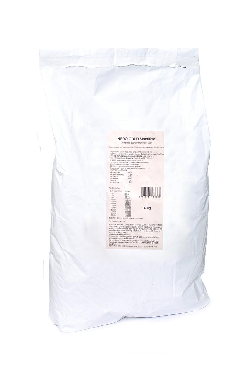 NERO GOLD super premium Для Чувствительных собак: Индейка и рис (Sensitive Turkey 23/13), 18 кг.10197Состав: дегидрированное мясо индейки, рис, куриный жир, мякоть свеклы, льняное семя, гидролизованная куриная печень, дрожжи, минералы и витамины, гидролизованные хрящи (источник хондроитина), гидролизат ракообразных (источник глюкозамина), L-карнитин, лецитин, инулин (ФОС), таурин. Условия хранения: в прохладном темном месте.